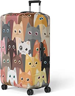 Pinbeam Luggage Cover Pattern Cats Cartoon Face Meow Flat Smile Day Travel Suitcase Cover Protector Baggage Case Fits 22-24 inches