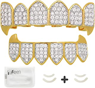 LuReen 14k Gold Silver Plated Vampire Fangs Grills Top and Bottom Grillz Set + 2 Extra Molding Bars