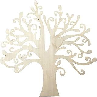 Pixnor 10pcs Wooden Tree Shape Craft Blank, Christmas, Wedding, Guestbook, Decoupage Family Tree