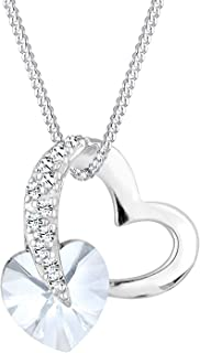 Elli Women's 925 Sterling Silver Xilion Cut Heart Love Swarovski Crystal Necklace Of Length 45 cm