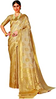 Golden Designer Indian Women Pure Weaving Soft Silk Sari With Blouse Piece Traditional Ethnic Wear 5826