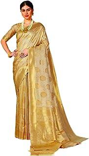 رداء ساري هندي للنساء من جولدن ديزاينر مصنوع من الحرير الناعم الناعم مع بلوزة تقليدي 5826