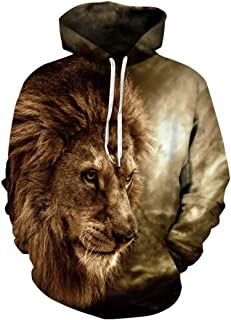 Ohrwurm Amazing 3D Print Hoodies Realistic Cool Pullover Hoodie Lion Pattern Sweatshirts