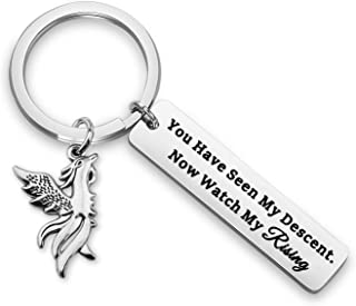 WUSUANED Inspirational Keychain You Have Seen My Descent Now Watch My Rising Phoenix Bird Jewelry