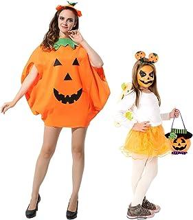 FEPITO 4Pcs Unisex Adult Halloween Pumpkin Costume Funny Halloween Costumes Orange Pumpkin Cosplay Party Clothes