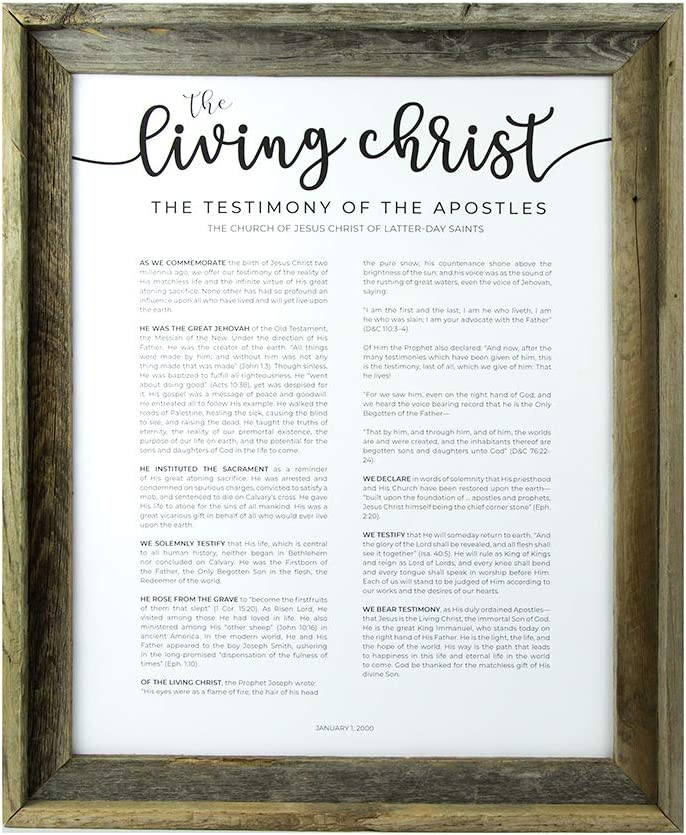 Framed LDS Living Christ - Frame 11x14 Barnwood Baltimore Mall Canvas Al sold out.
