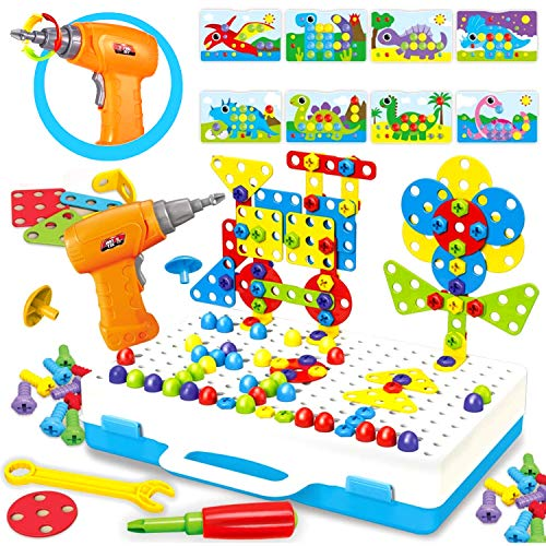 Paochocky Creative Puzzle Construction Toy Set - Electric Drill Building Block Game Screwdriver Play Tool Puzzle Assembly DIY STEM Educational Toys Wonderful Gift For Boys Kids
