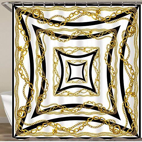MATEKULI Duschvorhang,Barockstil mit Metallkette und quadratischem Rahmen,Wasserfeste Bad Vorhang aus Polyestergewebe mit 12 Haken Duschvorhang 180x180cm