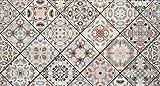 Decowood - Cabecero Estampado para Cama Dormitorio, Mosaico Vintage, Madera Decapada - 150 x 80 cm