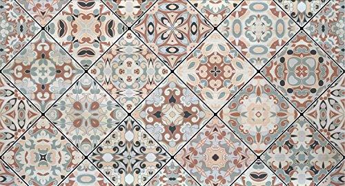 Decowood - Cabecero para Cama Dormitorio, Estampado Mosaico Vintage, Madera Decapada - Fabricado a Mano en España - Medidas 160 x 80 cm (Cama 140/150cm)