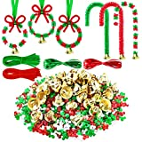 Kit de Adornos de Abalorios de Navidad con 1500 Cuentas de Triángulo, 50 Tallos de Chenille, 50 Campanas, 20 Abalories de Plástico, y 10 m de Cuerdas para Árbol de Navidad Manualidades