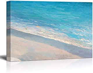 wall26 Canvas Wall Art - Oil Painting Style Abstract Seascape with Waves on The Beach - Giclee Print Gallery Wrap Modern Home Decor Ready to Hang - 24x36 inches