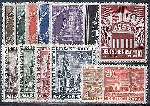Goldhahn Berlin postfrisch Jahrgang 1953 komplett Nr. 101-113 Briefmarken für Sammler