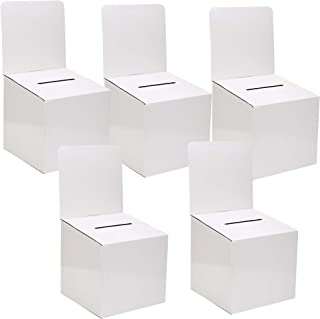 MCB - Large Cardboard Box - Ballot Box - Suggestion Box - Raffle Box - Ticket Box - with Removable Header -White(5 Pack)