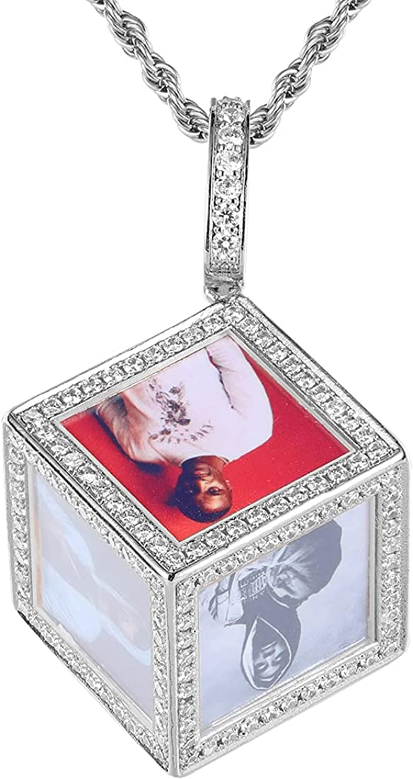 Picture Necklaces, Personalized Photo Pendant for Women Men Customized Image Text Necklaces for Women Memory Medallion Pendant with Tennis Chain or Rope Chain Keychain Bag Ornaments Hip Hop Jewelry