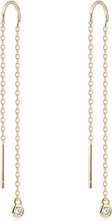 Gold Dangle Earrings 925 Sterling Silver Minimalist Chain Earrings CZ Stud Threader Earrings