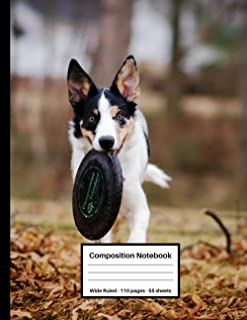 Composition Notebook: Cute Puppy Dogs Wide Ruled Paper Notebook Journal, Wide Lined Workbook for Back to School & Home Col...