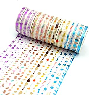 ERCENTURY Slim Washi Masking Tape Set, 16 Rolls of Foil Gold Washi Tapes, 3mm Wide Slim Masking Tapes, 4 Series with Different Patterns