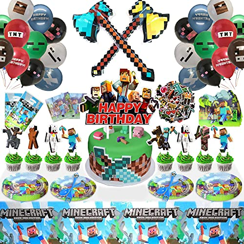 Pixel Style Birthday Party Supplies/Decor for Boys and Girls, Miner Theme Birthday Party Package Contain Balloons Stickers Tablecloth and Tableware 183PCS Total