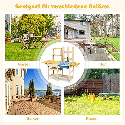 COSTWAY Matschküche mit Wasserhahn, Kinderküche, Outdoor Küche, Holzküche, Spielküche - 7