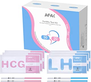 Ovulation Predictor Kit OPK, AFAC 50 Ovulation Test Strips and 20 Pregnancy Test Strips Combo Kit, Packed with Individually Aluminum Bag (50 LH + 20 HCG )Sensitive Fertility Test with Accurate Results