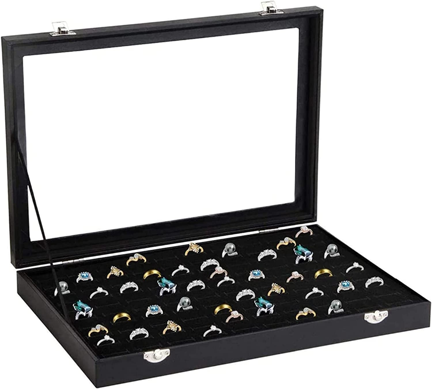 SETSCZY Velvet Max 58% OFF Display Box Great interest with Ring Orga 100 Earring Slot