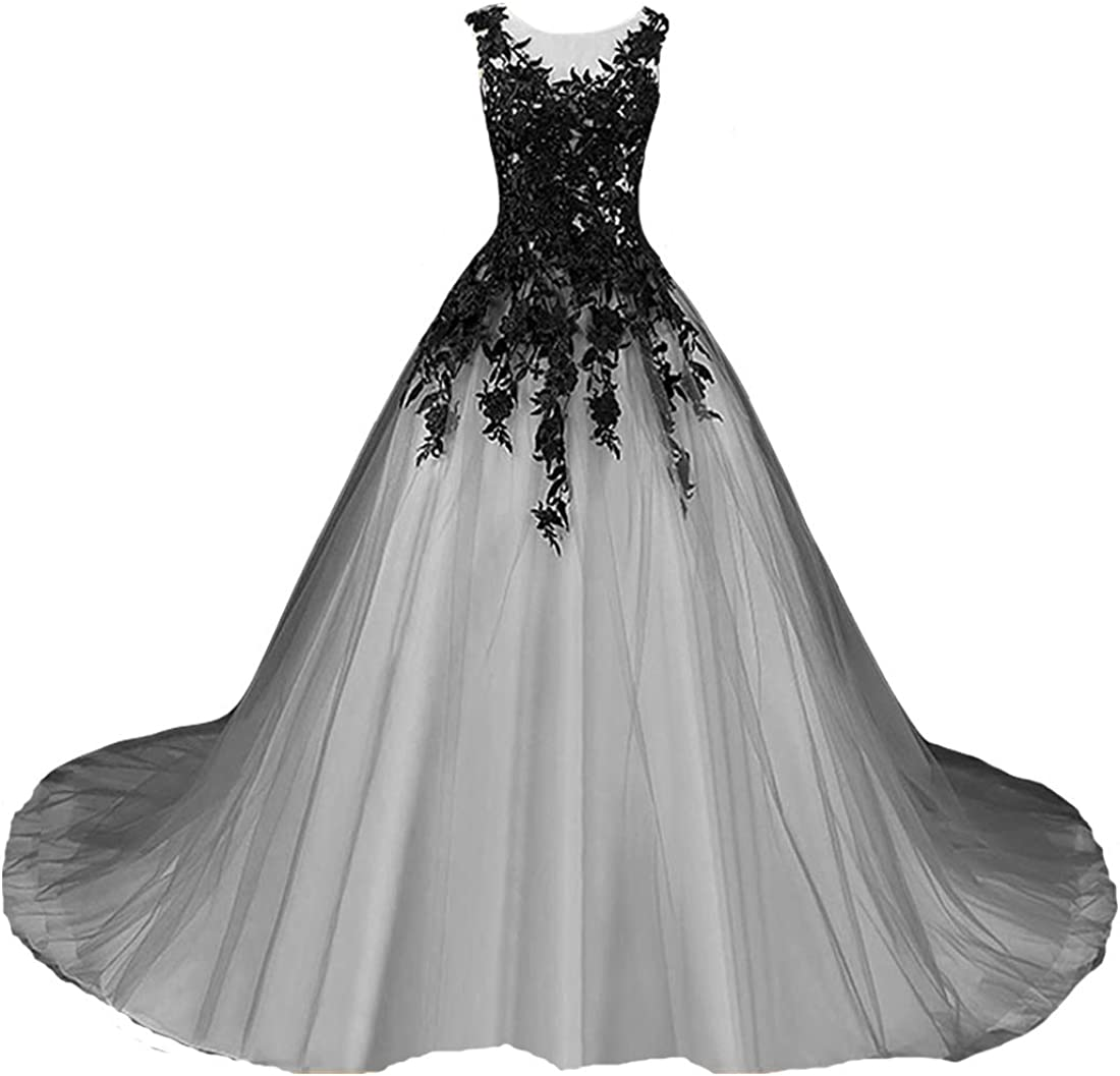 Kivary Gothic Gray Tulle Long Black Lace Sheer Bateau Prom Wedding Dresses