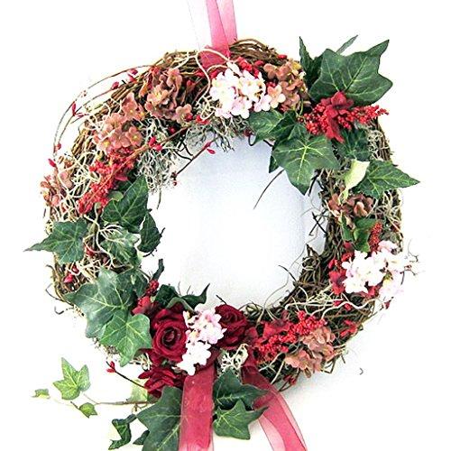 Small-Preis Türkranz Wandkranz Kranz Reisgkranz aus Naturmaterial mit roten Rosen ø 32 cm - Frühling - Sommer - Herbst - Willkommensgruß - 656