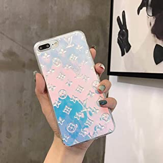 Magic Blue Color New Elegant Luxury Fashion PU Leather Monogram Design Pattern Stylish Cover Case for Apple (iPhone Xs MAX)