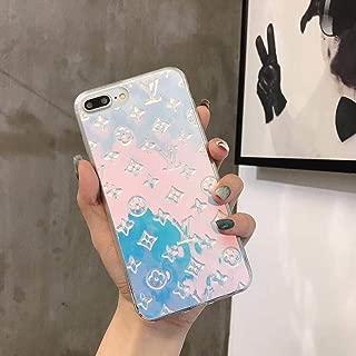 Magic Blue Color New Elegant Luxury Fashion PU Leather Monogram Design Pattern Stylish Cover Case for Apple (iPhone 6/6s/7/8 Plus)