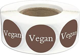 Vegan Food Rotation Labels 1 Inch - Round Circle Dots 500 Adhesive Stickers