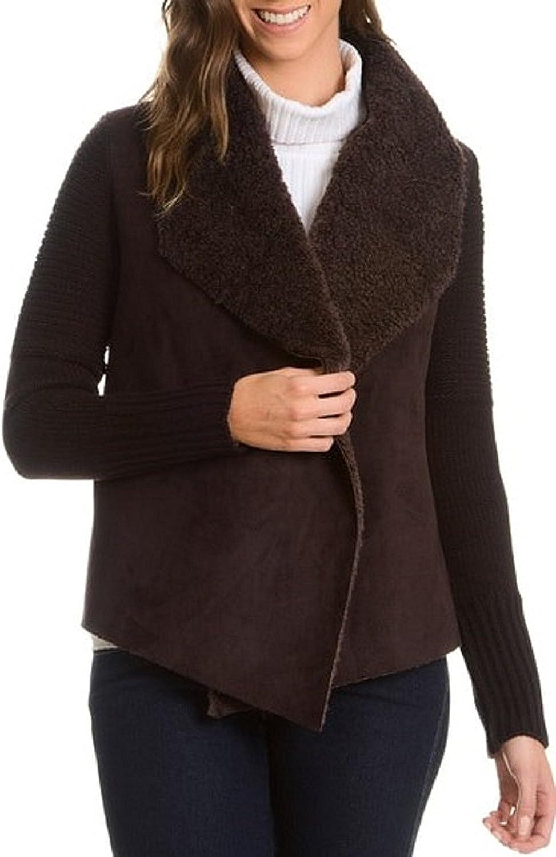 Chelsea & Theodore Womens Long Sleeve Cardigan, Lumber Brown (Medium)