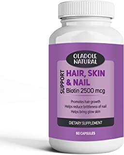 Oladole Natural Biotin Hair Skin & Nails Extra Strength Hair Growth Optimal Solutions Helps Support Energy Metabolism.