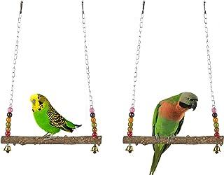 AHANDMAKER 鳥のブランコのおもちゃ、 鳥のパロットスイング咀嚼おもちゃ、 セキセイインコのための大きな天然木製オウムスイングスタンドおもちゃ、 カナリア、 インコラブバード、 オカメインコ、 オウム、 ヨウム、 コンゴウインコ