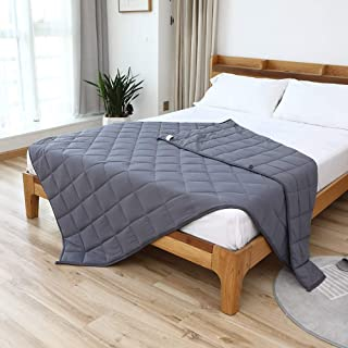 """Smart Queen Cooling Weighted Blankets Adult (15 lbs, 48""""x 72"""", Twin Size) Heavy Blanket, Premium Cotton with Natural Glass Beads"""