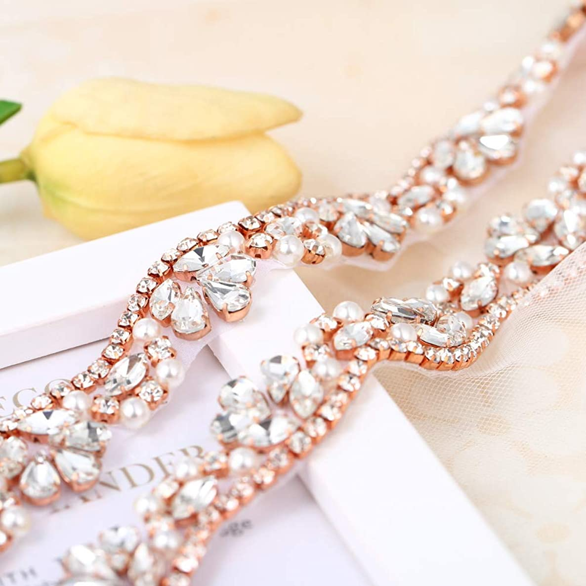 Rhinestone Applique Belt for Bridal Sash Crystals and Pearls-Hot Fix or Sew on-1 Yard(36x0.83in)