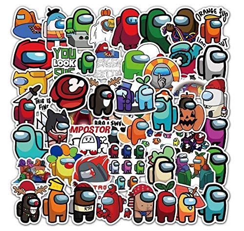 100 pegatinas divertidas a prueba de agua, diseño de juego de dibujos animados A_mong Us para álbumes de recortes, botella de agua equipaje calcomanías de decoración para niños y adultos