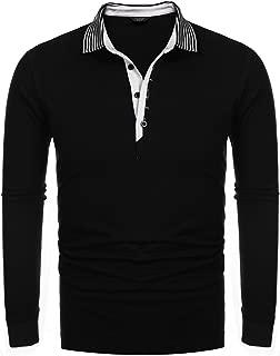 Men's Long Sleeve Polo Shirt Slim Fit Cotton Polo T Shirts