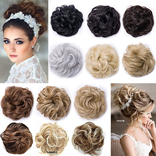 Postiche Extensions a clip cheveux naturel Scrunchy Chignons VOLUMINEUX Bouclés Ou Chignon Décoiffé Différentes Couleurs Blond de cendre