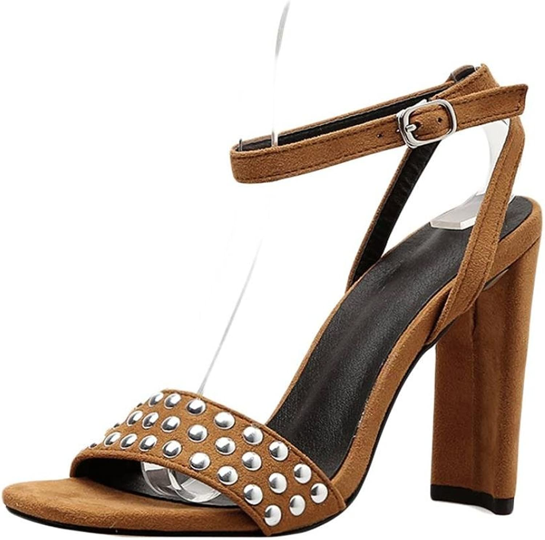 Goodtrade8 Boho Rivet High Heel Sandal for Women, Open Toe Ankle Strap Buckle Sandal Flat Summer Black