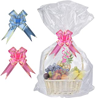 SelfTek 20 Pack Clear Basket Bags Cellophane Wrap Bags,with 20 Pack Bows Ribbon (Random Two Colors) for Gifts and Baskets,Wrapping,Arts & Crafts,Treat,32 by 22 Inches