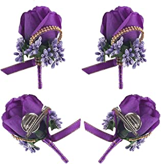 Wedding Boutonniere, HO2NLE 4PCS Handmade Artificial Silk Purple Rose Boutonniere for Groom Groomsman Bride Bridesmaid Corsage with Pin and Clip Prom Party Man Suit Decoration Floral Brooch