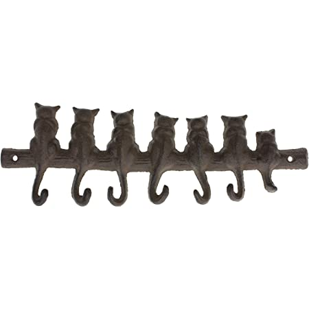 Vintage Solid Brass 4 Cat Key Hooks /& 7 Cats
