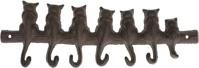 Comfify - Gancho de pared de hierro fundido de 7 gatos - Estante decorativo de gancho de pared de hierro fundido - Perchero de diseño vintage con 4 ganchos - Montado en la pared - con tornillos y anclas - Marrón