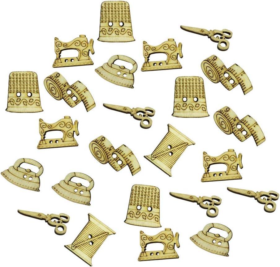 TENDYCOCO 50 botones de madera con 2 agujeros para máquina de coser, para scrapbooking, artesanía y bricolaje