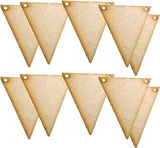 Jili Online 20x Wooden Triangle Bunting Embellishments Art Xmas Crafts Cardmaking 108