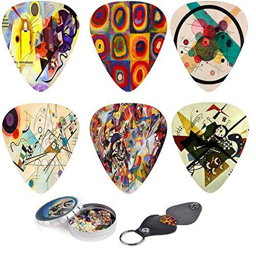 abstrakte Kunst Gitarrenplektren -wassily kandinsky Malereien.12 mittlere Celluloid-Gitarren-Picks in einer Box w/Picks Halter. einzigartiges Gitarrengeschenk für Bass-, Elektro- und Akustikgitarren