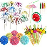 Anyasen Cocktail Decorations Kit Cocktail Umbrellas Cocktail Umbrellas for Drinks Cocktail Sticks Firework Picks Cake Toppers Cocktail Umbrella Straws Umbrella Drinking Straws Bar Accessories, 230 PCS