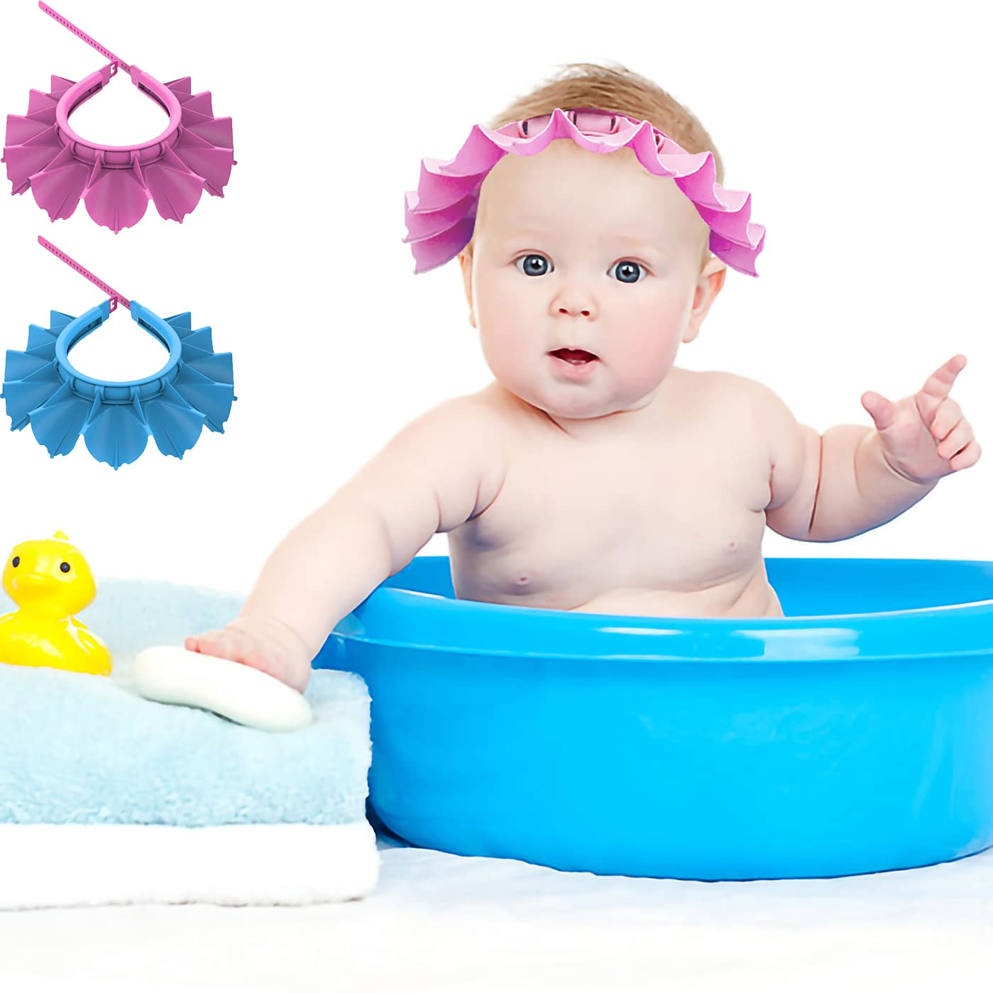 Baby Shower Cap Silicone Bathing Hat, Adjustable Shower Cap Kids, Infants Soft Protection Hat Funny Safety Visor Cap Hat for Toddler Children Small Size (Head Circumference 14.5-19.7 Inches) (Pink)