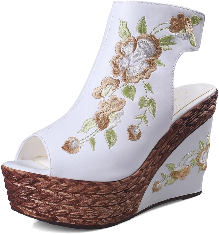 Sandalen Schuhe Hohle Blaumen Stickerei Velcro High Heel Plateauschuhe Plateauschuhe 10 cm hoch (Farbe   Weiß, Größe   35)  Verkauf Online-Rabatt